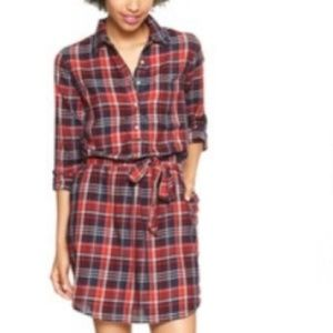 GAP Red & Blue Plaid Shirt Dress XS/P